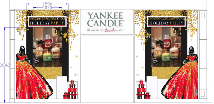 Retail store window design mock up using thematic designs created by the agency