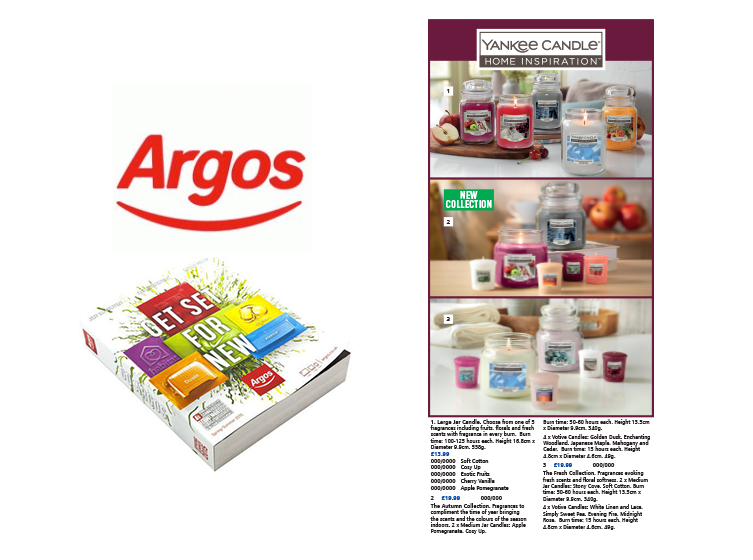 Argos catalogue page design with rebrand