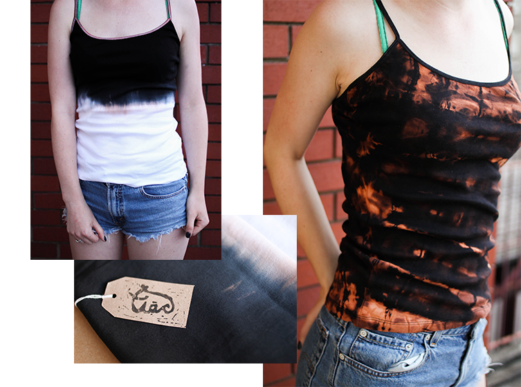 ...and a string vest top. On the right I've used bleach as a resistant 'anti-dying' medium, creating a rusty colour.
