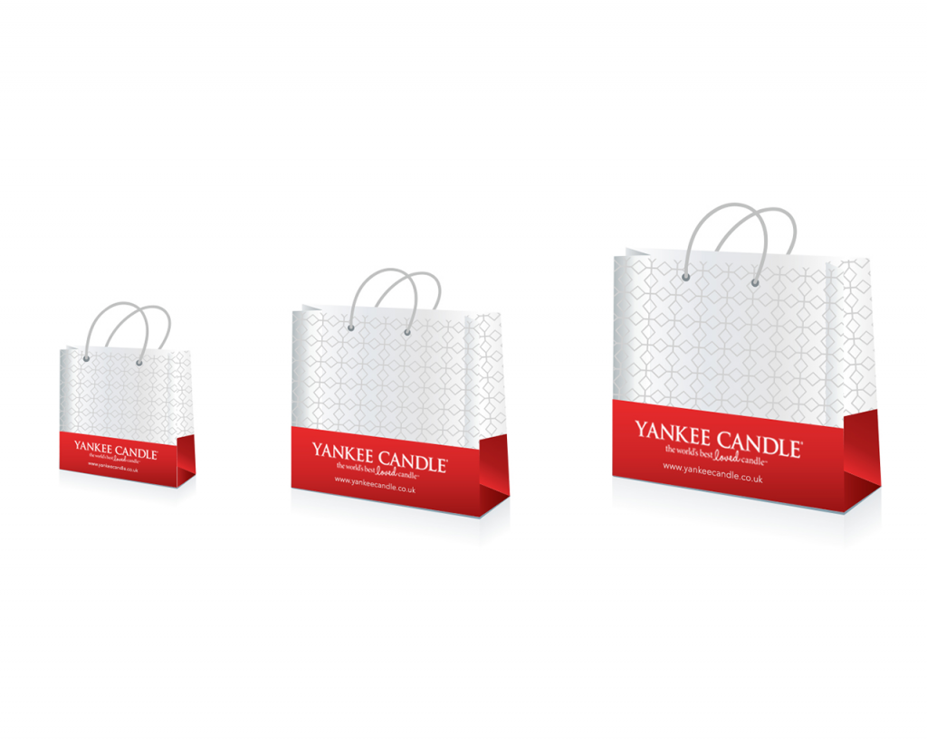 Small, medium and large retail store bag designs